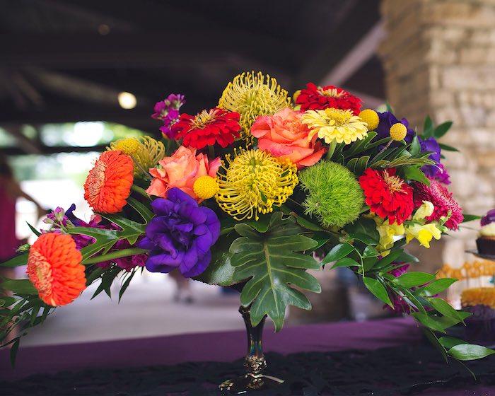 Floral arrangement from an Elena of Avalor Inspired Birthday Fiesta on Kara's Party Ideas | KarasPartyIdeas.com (27)
