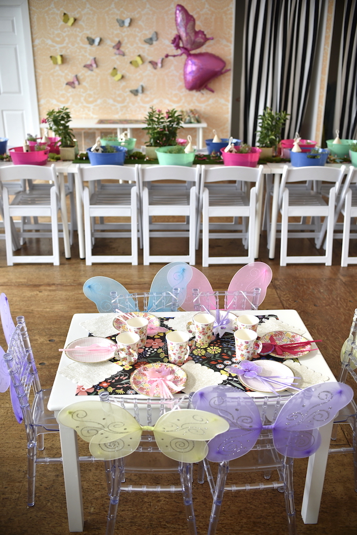 Guest table from a Fairy Garden Craft Party on Kara's Party Ideas | KarasPartyIdeas.com (11)