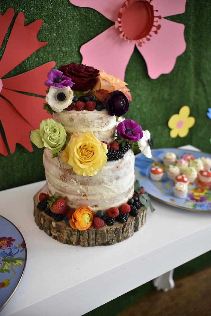 Cake from a Fairy Garden Craft Party on Kara's Party Ideas   KarasPartyIdeas.com (9)