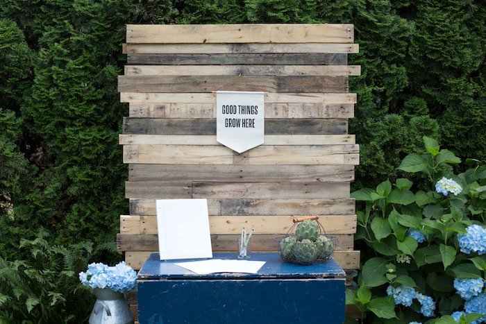 Signing table from a Farmers' Market Baby Shower on Kara's Party Ideas | KarasPartyIdeas.com (18)