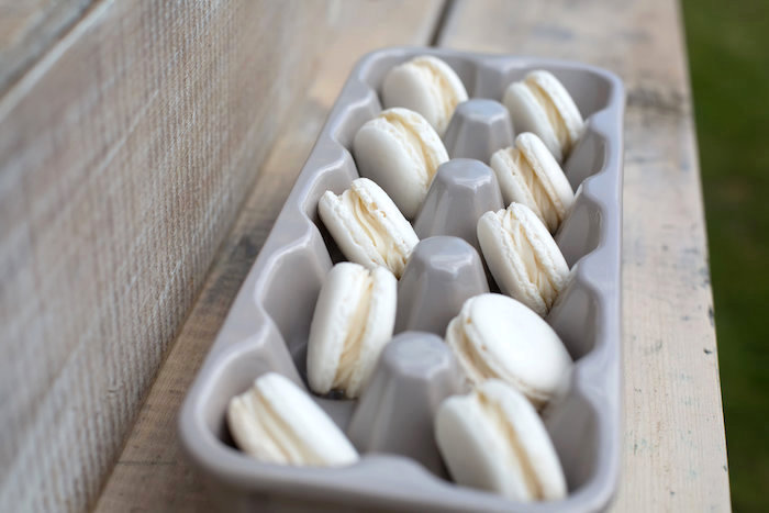 Macarons in an egg carton from a Farmers' Market Baby Shower on Kara's Party Ideas | KarasPartyIdeas.com (13)