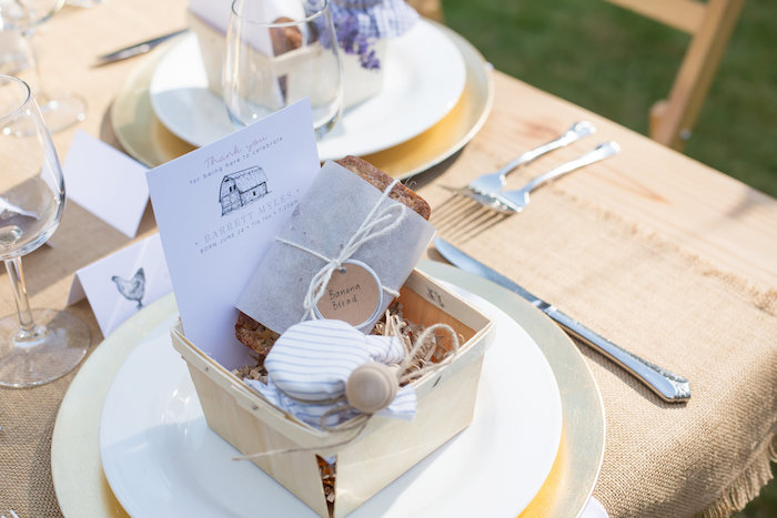 Wooden berry basket place setting from a Farmers' Market Baby Shower on Kara's Party Ideas | KarasPartyIdeas.com (5)