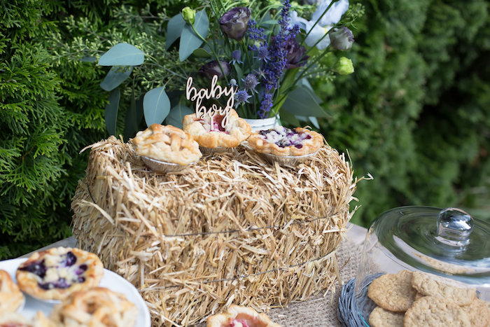 Straw bale and blooms from a Farmers' Market Baby Shower on Kara's Party Ideas | KarasPartyIdeas.com (26)