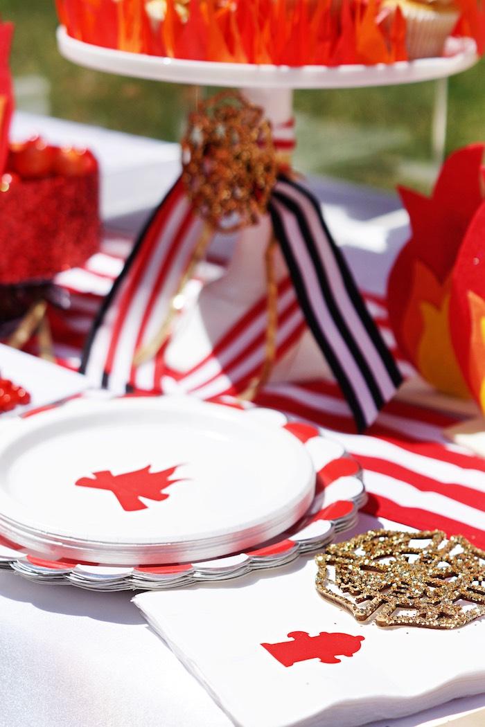 Fireman plates + partyware from a Fireman Birthday Party on Kara's Party Ideas | KarasPartyIdeas.com (17)