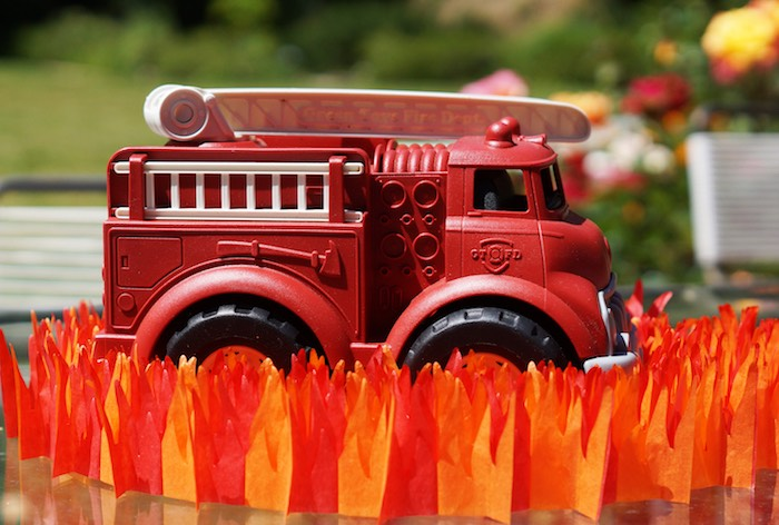 Toy firetruck centerpiece from a Fireman Birthday Party on Kara's Party Ideas | KarasPartyIdeas.com (16)
