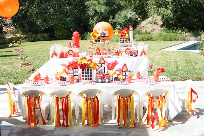 Guest tables from a Fireman Birthday Party on Kara's Party Ideas | KarasPartyIdeas.com (14)