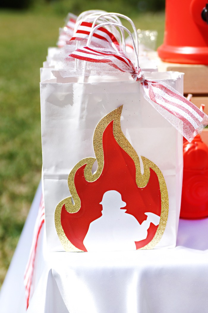 Flamed fireman gift bag from a Fireman Birthday Party on Kara's Party Ideas | KarasPartyIdeas.com (13)