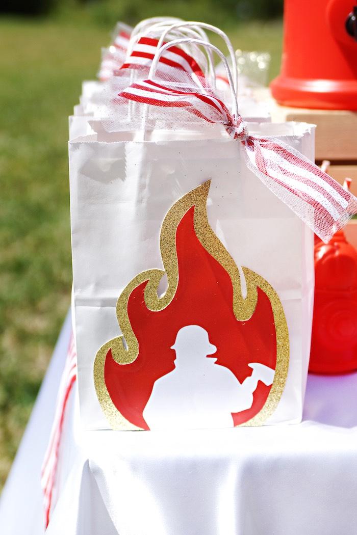 Flamed fireman gift bag from a Fireman Birthday Party on Kara's Party Ideas | KarasPartyIdeas.com (13)