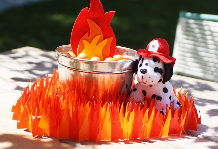 Fire table centerpiece from a Fireman Birthday Party on Kara's Party Ideas | KarasPartyIdeas.com (11)
