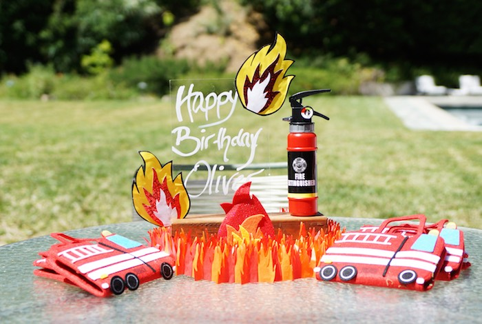 Fire party table from a Fireman Birthday Party on Kara's Party Ideas | KarasPartyIdeas.com (10)