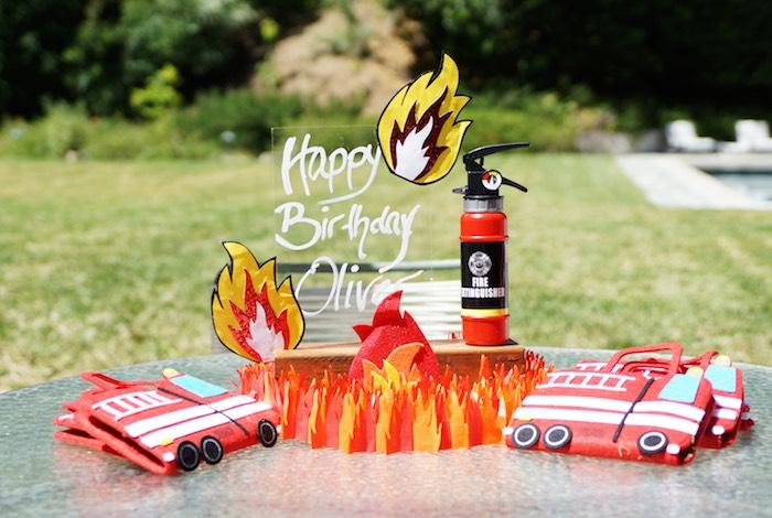 Fire party table from a Fireman Birthday Party on Kara's Party Ideas | KarasPartyIdeas.com (10)