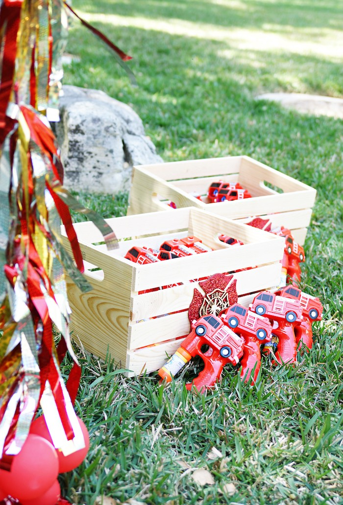 Favor crates from a Fireman Birthday Party on Kara's Party Ideas | KarasPartyIdeas.com (9)