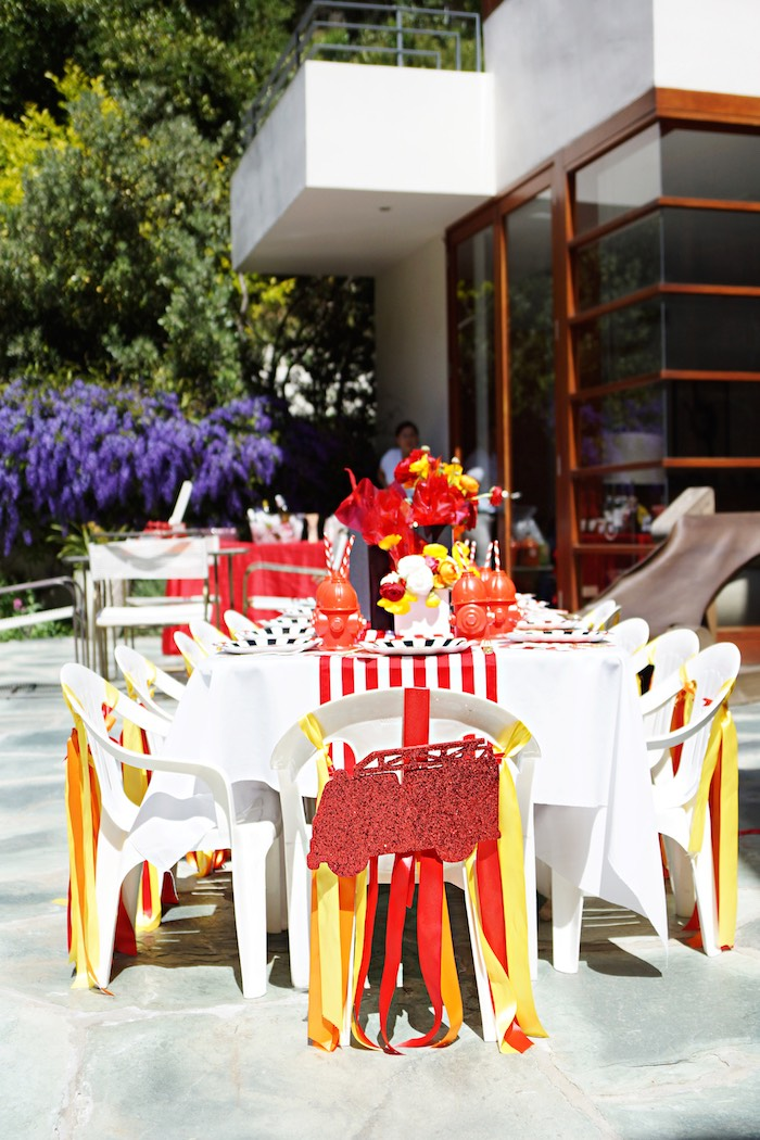 Guest tables from a Fireman Birthday Party on Kara's Party Ideas | KarasPartyIdeas.com (8)
