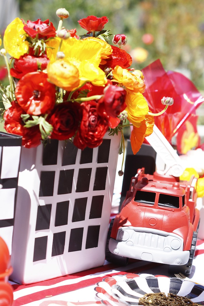 Burning building floral arrangement from a Fireman Birthday Party on Kara's Party Ideas | KarasPartyIdeas.com (26)