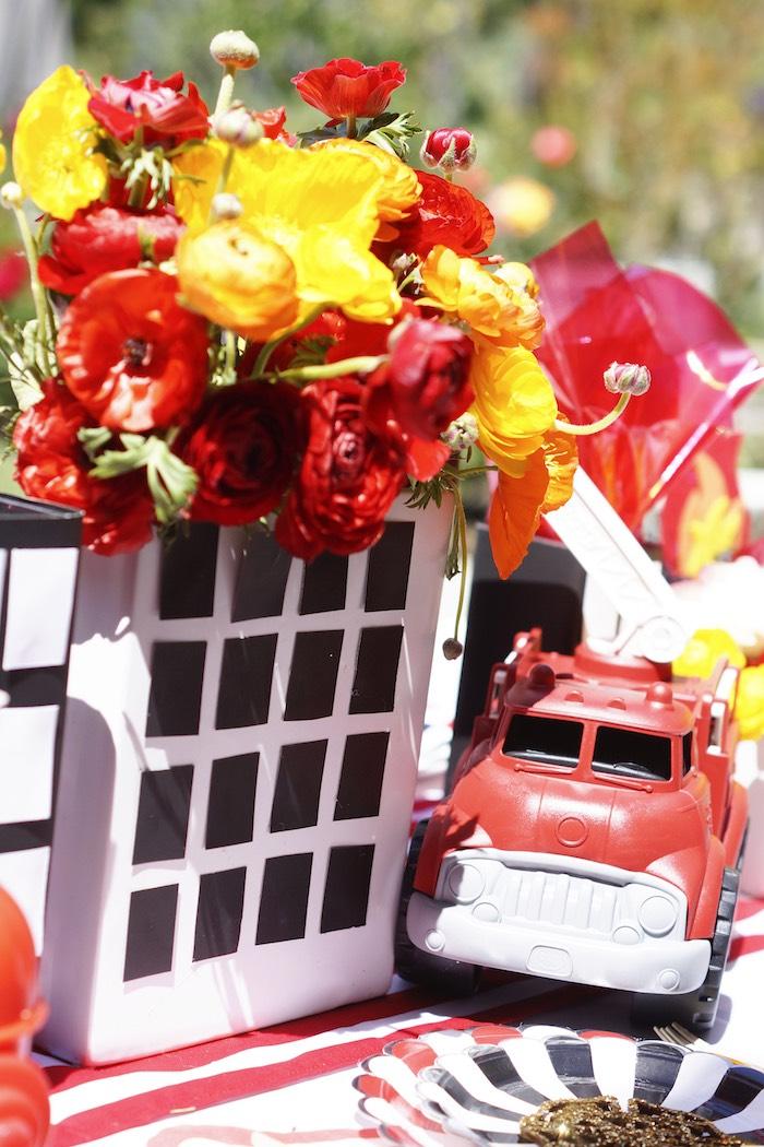 Burning building floral arrangement from a Fireman Birthday Party on Kara's Party Ideas | KarasPartyIdeas.com (26)