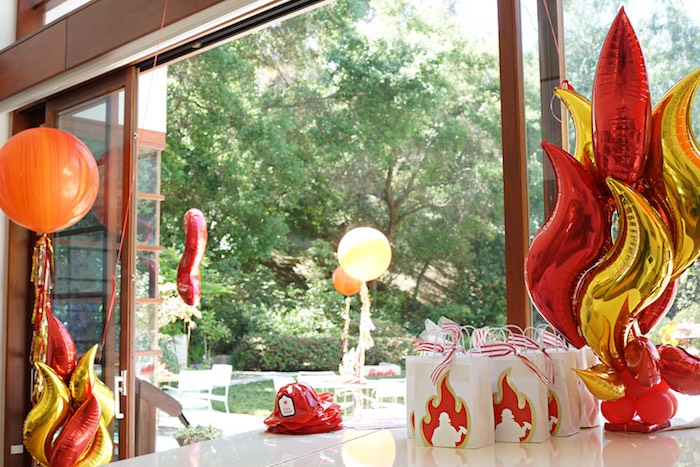 Setup + decor from a Fireman Birthday Party on Kara's Party Ideas | KarasPartyIdeas.com (6)