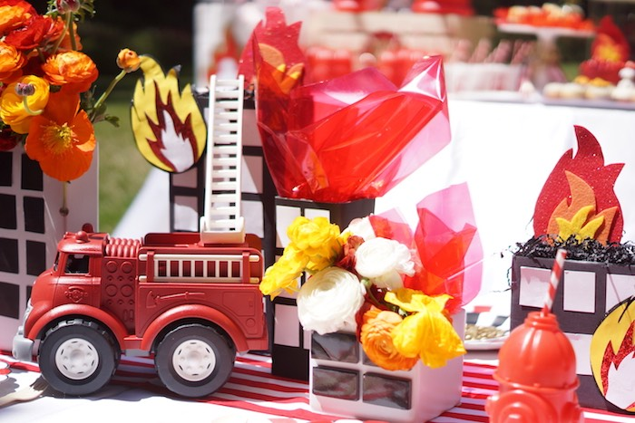 Centerpieces + decor from a Fireman Birthday Party on Kara's Party Ideas | KarasPartyIdeas.com (25)