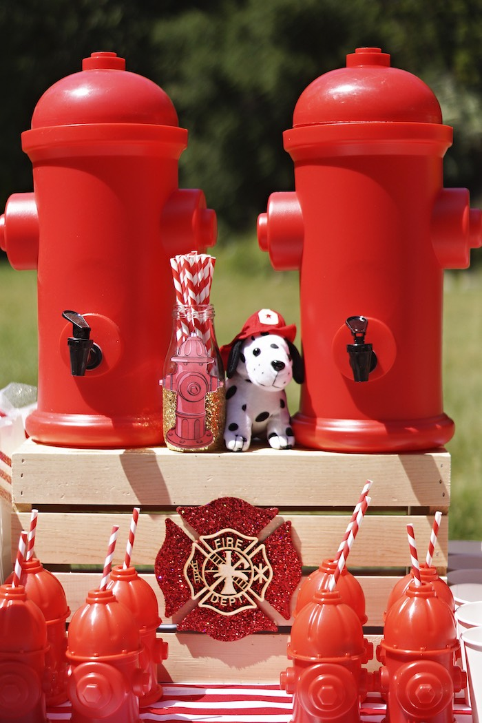 Fire hydrant beverage dispensers & cups from a Fireman Birthday Party on Kara's Party Ideas | KarasPartyIdeas.com (24)