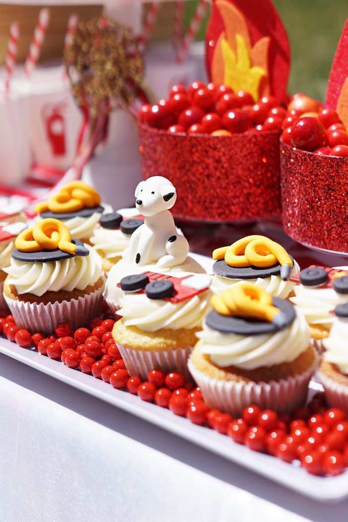Fire station cupcakes from a Fireman Birthday Party on Kara's Party Ideas | KarasPartyIdeas.com (23)