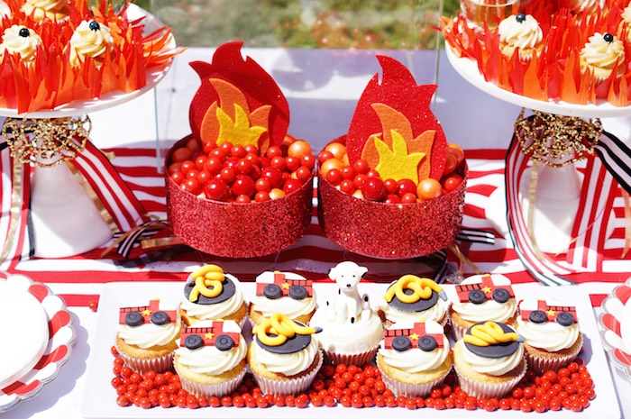 Cupcakes and candy from a Fireman Birthday Party on Kara's Party Ideas | KarasPartyIdeas.com (22)