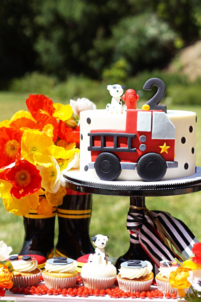 Fireman-inspired cake from a Fireman Birthday Party on Kara's Party Ideas | KarasPartyIdeas.com (21)