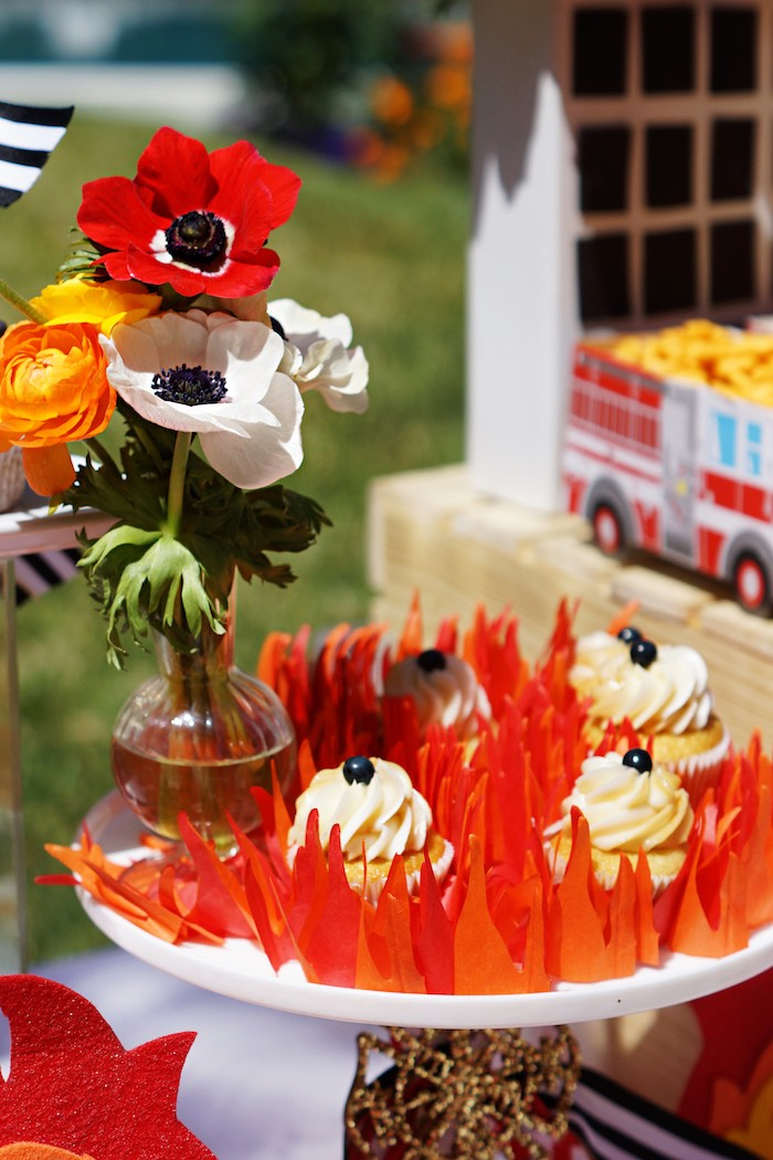 Flaming cupcakes from a Fireman Birthday Party on Kara's Party Ideas | KarasPartyIdeas.com (20)
