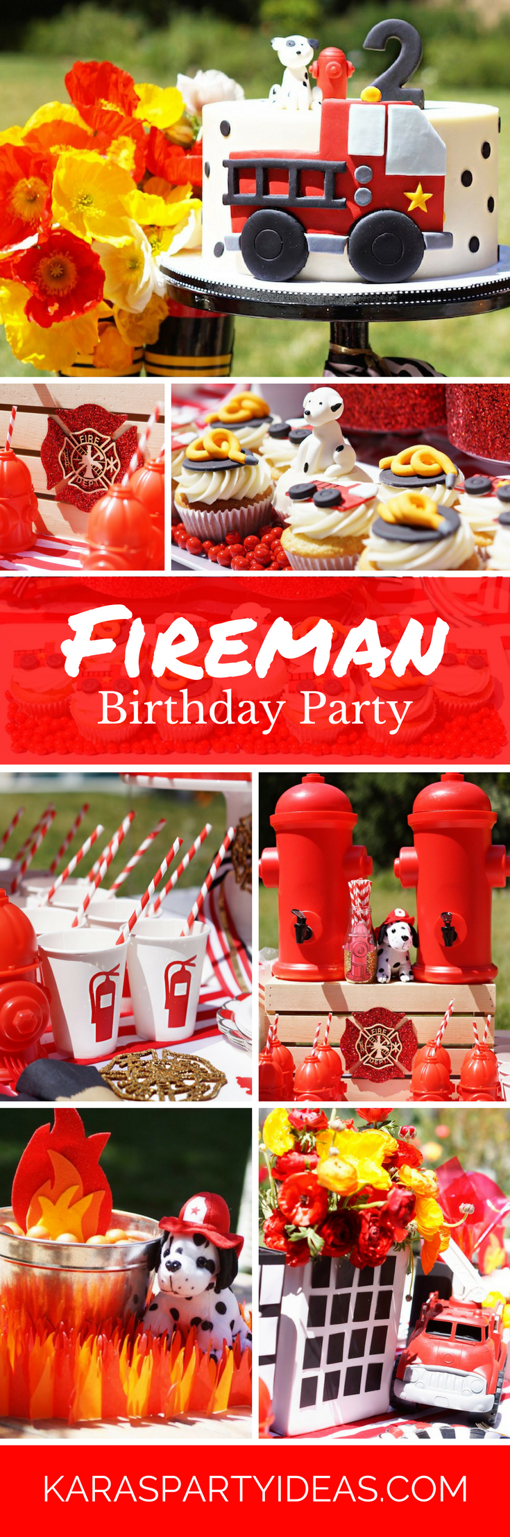 Fireman Birthday Party via Kara's Party Ideas - KarasPartyIdeas.com
