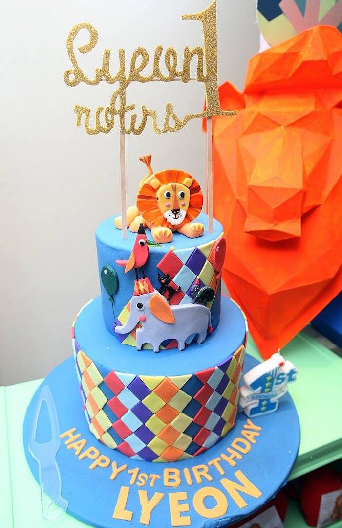 Geometric Jungle Cake from a Geometric Jungle Animal Birthday Party on Kara's Party Ideas | KarasPartyIdeas.com (8)