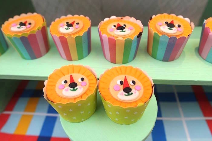 Lion cupcakes from a Geometric Jungle Animal Birthday Party on Kara's Party Ideas | KarasPartyIdeas.com (6)