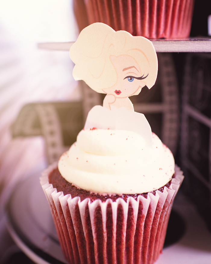 Movie Star Cupcake from a Glam Hollywood Birthday Party on Kara's Party Ideas | KarasPartyIdeas.com (10)