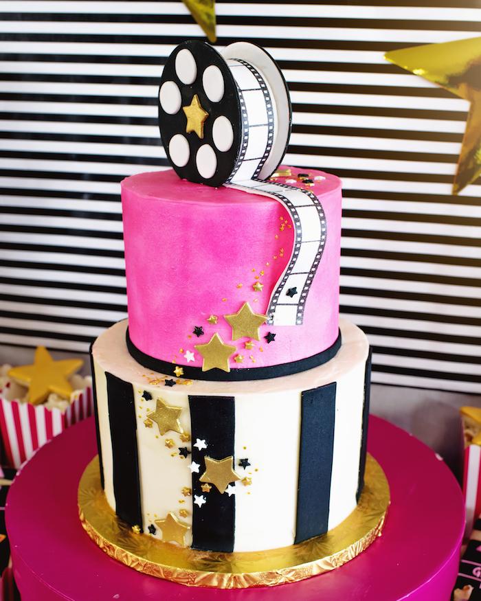 Glam Hollywood Cake from a Glam Hollywood Birthday Party on Kara's Party Ideas | KarasPartyIdeas.com (15)