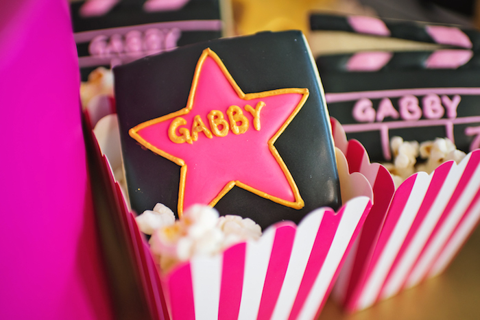 Hollywood Star cookie from a Glam Hollywood Birthday Party on Kara's Party Ideas | KarasPartyIdeas.com (14)