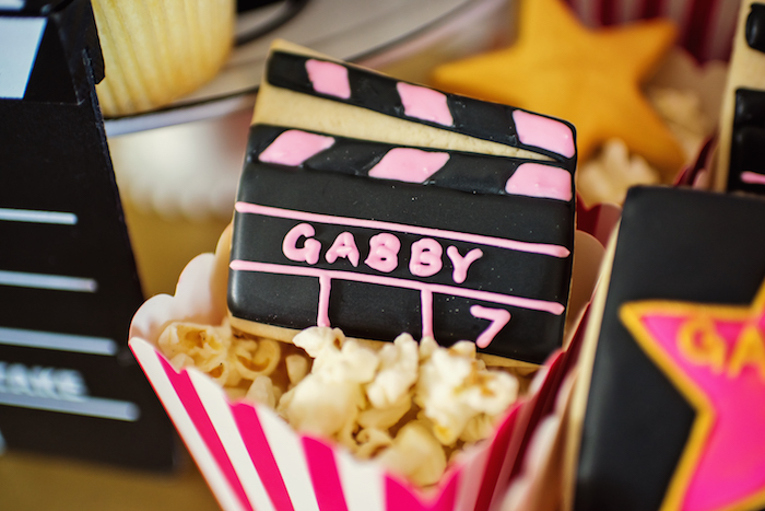 Movie clipboard cookie from a Glam Hollywood Birthday Party on Kara's Party Ideas | KarasPartyIdeas.com (13)