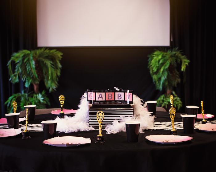 Oscar guest table from a Glam Hollywood Birthday Party on Kara's Party Ideas | KarasPartyIdeas.com (12)