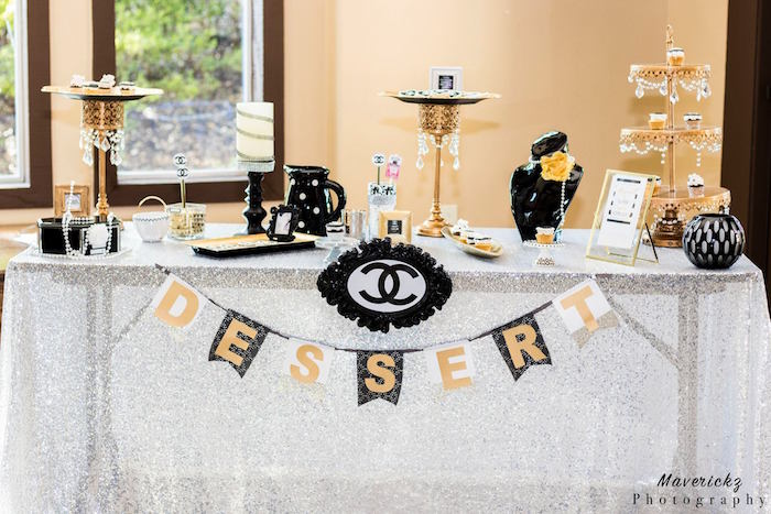 Chanel-inspired dessert table from a Glamorous Chanel No 16 Birthday Party on Kara's Party Ideas | KarasPartyIdeas.com (22)