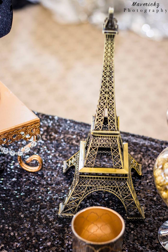 Eiffel Tower decoration from a Glamorous Chanel No 16 Birthday Party on Kara's Party Ideas | KarasPartyIdeas.com (21)