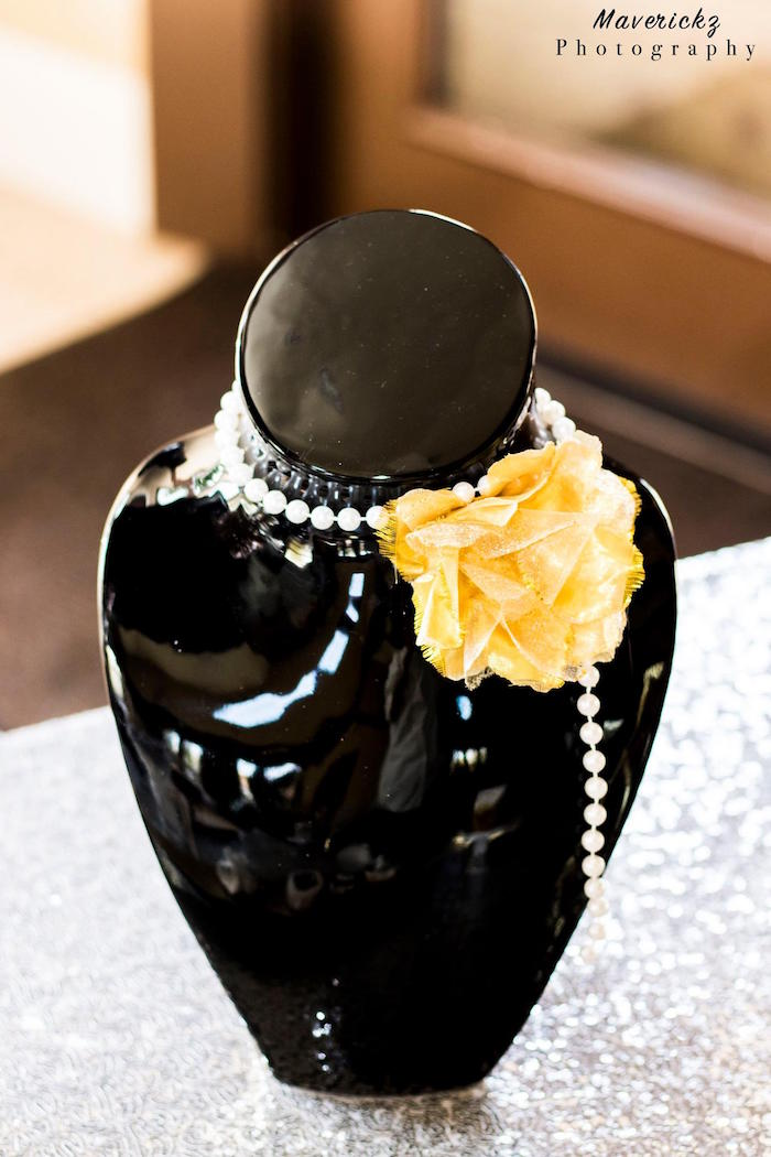 Mini dress form adorned with a flower and beads from Glamorous Chanel No 16 Birthday Party on Kara's Party Ideas | KarasPartyIdeas.com (20)