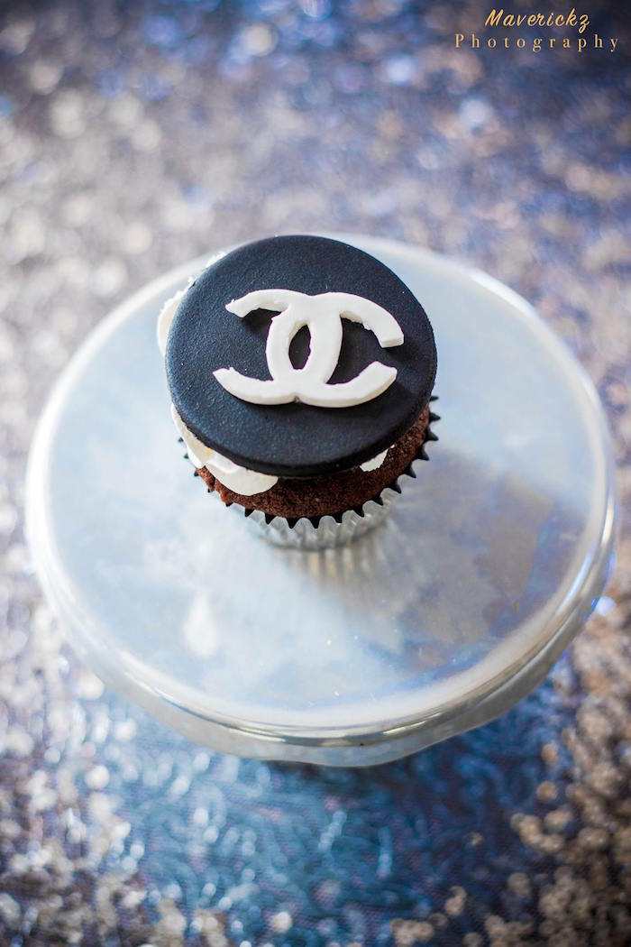 Chanel cupcake from a Glamorous Chanel No 16 Birthday Party on Kara's Party Ideas | KarasPartyIdeas.com (19)