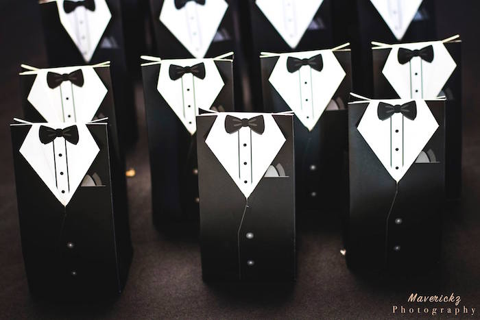 Tuxedo favor pouches/bags from a Glamorous Chanel No 16 Birthday Party on Kara's Party Ideas | KarasPartyIdeas.com (18)