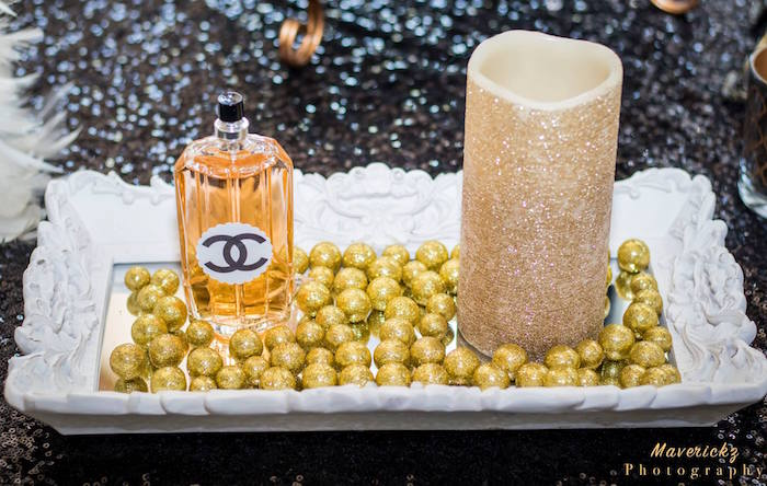 Decor from a Glamorous Chanel No 16 Birthday Party on Kara's Party Ideas | KarasPartyIdeas.com (16)