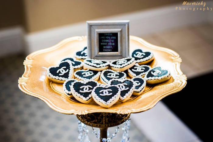 Chanel heart cookies from a Glamorous Chanel No 16 Birthday Party on Kara's Party Ideas | KarasPartyIdeas.com (15)