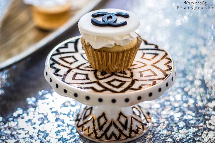 Chanel cupcake from a Glamorous Chanel No 16 Birthday Party on Kara's Party Ideas | KarasPartyIdeas.com (14)