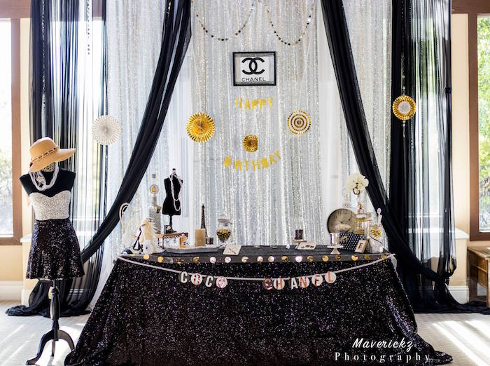 Chanel party table from a Glamorous Chanel No 16 Birthday Party on Kara's Party Ideas | KarasPartyIdeas.com (13)
