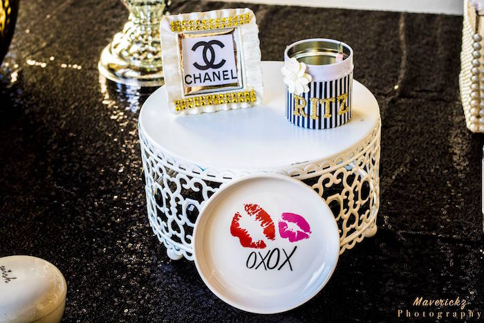 Glam decor from a Glamorous Chanel No 16 Birthday Party on Kara's Party Ideas | KarasPartyIdeas.com (31)