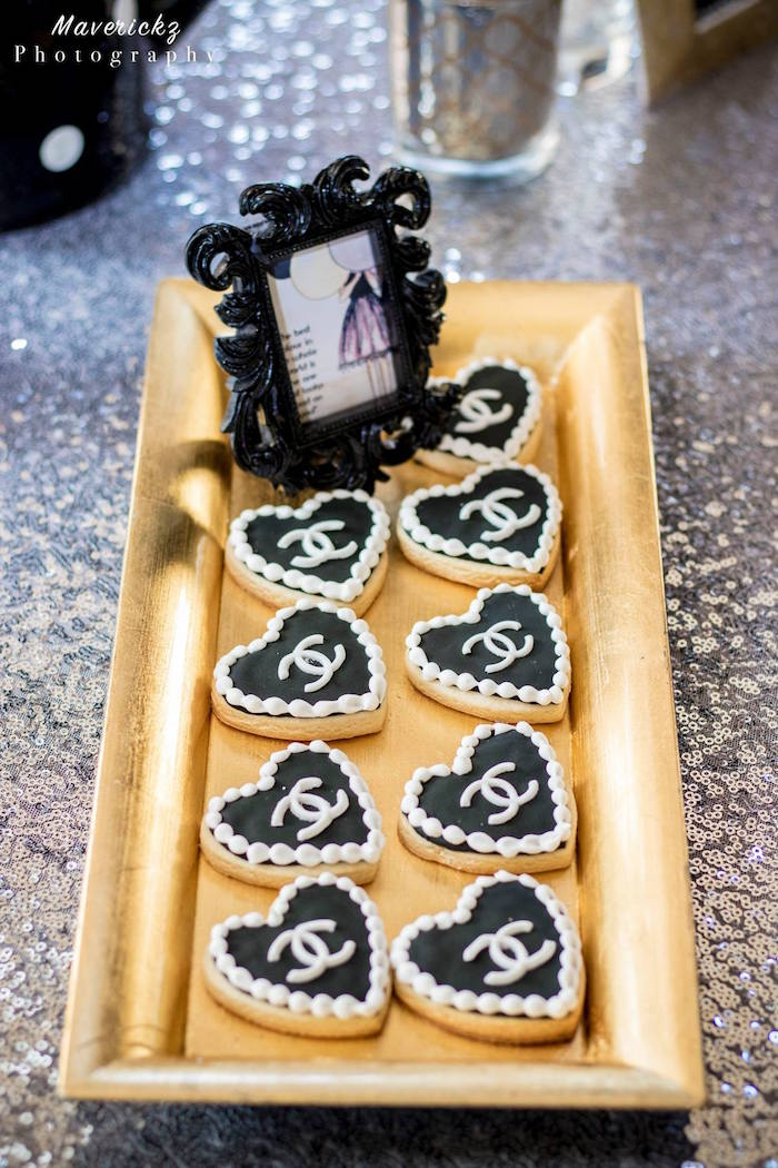 Chanel heart cookies from a Glamorous Chanel No 16 Birthday Party on Kara's Party Ideas | KarasPartyIdeas.com (12)