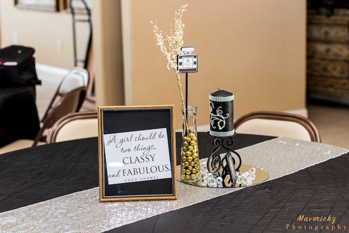 Chanel-inspired guest table from a Glamorous Chanel No 16 Birthday Party on Kara's Party Ideas | KarasPartyIdeas.com (11)