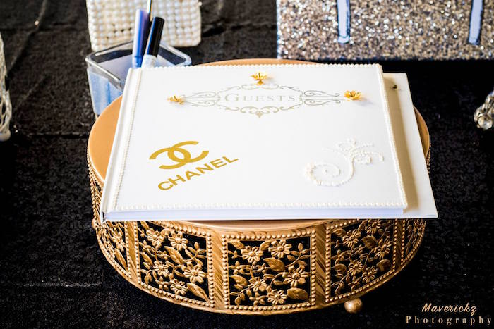 Chanel guest book from a Glamorous Chanel No 16 Birthday Party on Kara's Party Ideas | KarasPartyIdeas.com (28)