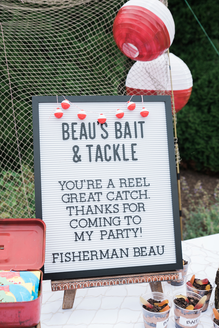 Bait & Tackle Letter Board Sign from a Gone Fishing Birthday Party on Kara's Party Ideas | KarasPartyIdeas.com (20)