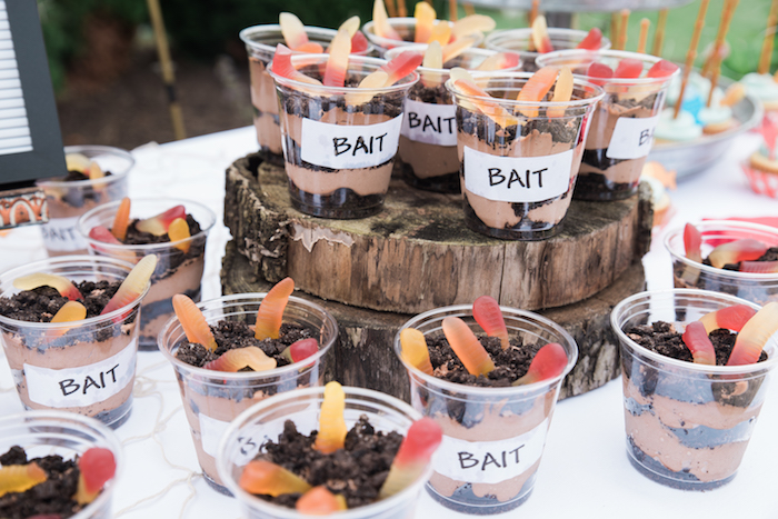 Bait pudding cups from a Gone Fishing Birthday Party on Kara's Party Ideas | KarasPartyIdeas.com (19)