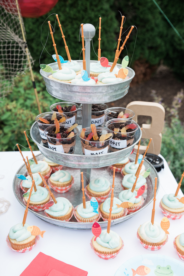Fishing cupcakes and bait pudding cups from a Gone Fishing Birthday Party on Kara's Party Ideas | KarasPartyIdeas.com (18)